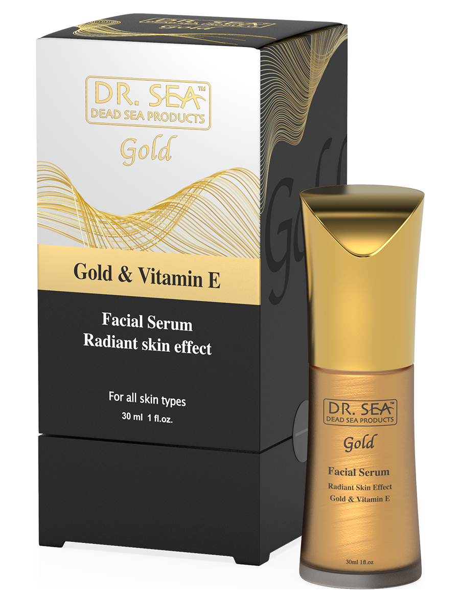 Facial serum with gold and vitamin E - radiant skin effect